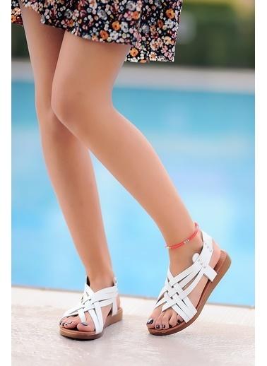 Pembe Potin A205-20 Kadın Sandalet A205-20 Beyaz